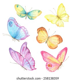 Collection watercolor of flying butterflies.