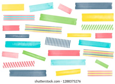 Collection of watercolor washi tape strips. EPS file has global colors for easy color changes and semitransparent tape strips.