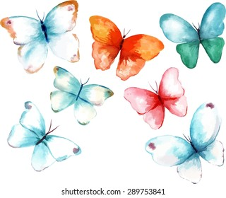 A collection of watercolour butterflies, scalable vector drawings