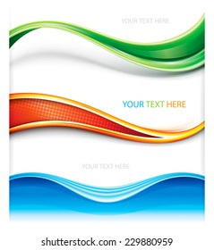 Collection of wave curve shape banner background.