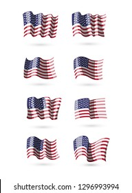 Collection of waving american flags. Set of USA symbol. Patriotic banner