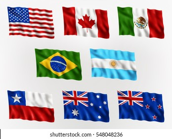 Collection of waving flags of Americas, and Australia, isolated flag icon, EPS 10 contains transparency.