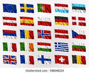 Collection of waving flags of Europe, isolated flag icon, EPS 10 contains transparency.