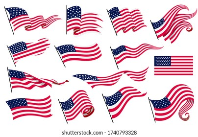 Collection waving flags of the United States of America. Illustration of wavy American Flags. National symbol, American flags on white background - vector illustration