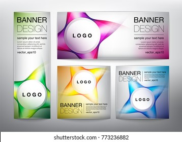 Collection of web banners in 4 different colors. Isolated on the light background. Each item contains space for own logo and text. Vector illustration. Eps10.