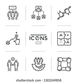 Collection of web linear icons or symbols - teamwork, business cooperation and partnership, association, union, networking. Modern vector illustration in thin line style for website, application.