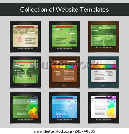 Collection website templates your business nine stock vector collection of website templates for your business nine nice and simple design templates with different flashek Image collections