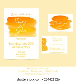 Collection of wedding design cards: invitation, RSVP, thank you. Orange and yellow watercolor hand painted shapes design element. Bright and positive background for text. Vector Illustration EPS10.