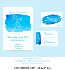 Collection of wedding design cards: invitation, RSVP, thank you. Blue and turquoise watercolor hand painted shapes design element. Marine abstract background for your text. Vector Illustration EPS10.