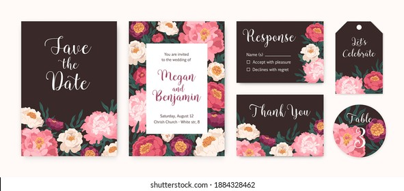 Collection of wedding invitation cards and labels with blooming japanese peonies vector flat illustration. Set of gorgeous romantic floral templates with a place for text isolated