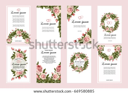 collection of wedding invitation templates with pink flowers wedding marriage save the date