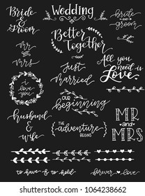 A collection of wedding sentiments and decorative elements.
