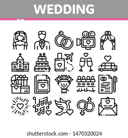 Collection Wedding Vector Thin Line Icons Set. Characters Bride And Groom, Rings And Limousine Wedding Elements Linear Pictograms. Church And Arch, Fireworks And Dancing Black Contour Illustrations