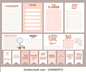 Collection of weekly or daily planner, note paper, to do list, stickers templates decorated by Girl Power concept and beauty cosmetic illustrations and inspirational quote. Vector Illustration.