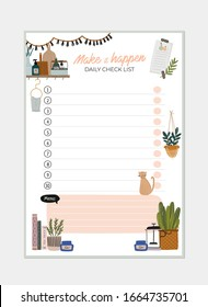 Collection of weekly or daily planner, note paper, to do list, stickers templates decorated with interior kitchen illustrations and inspirational quote. School scheduler and organizer. Flat vector