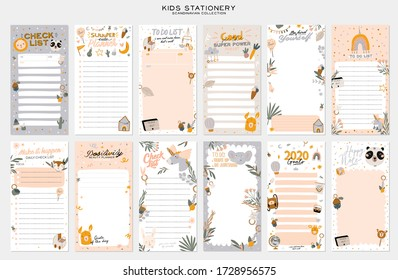Collection of weekly or daily planner, note paper, to do list, stickers templates decorated by cute kids illustrations and inspirational quote. School scheduler and organizer. Flat vector