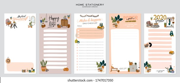 Collection of weekly or daily planner, note paper, to do list, stickers templates decorated with home interior decor illustrations and inspirational quote. School scheduler and organizer. Flat vector