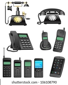 The collection which shows evolution of phones isolated on a white background