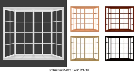 Collection of white, black, wooden Windows. Bay window frame system. Vector illustration isolated on white, grey background.