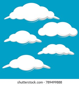 collection of white clouds set illustration isolated on blue background