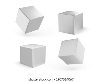 Collection of white cubes with shadow isolated on white background. White blocks. Vector illustration
