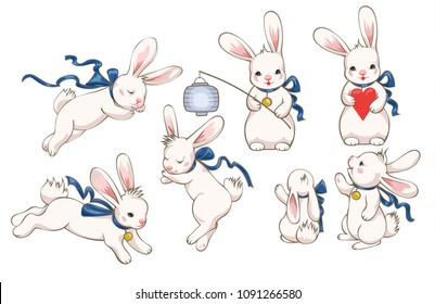 Collection of white cute bunnies in different poses - sleeping, running, pointing, holding