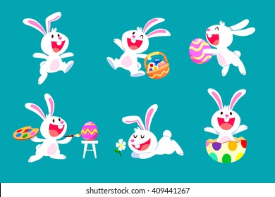 collection of white easter rabbit in different poses-isolated