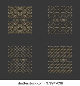 Collection of white geometric Frames  in trendy mono line style. Luxury Monogram and Emblem Elements.Golden frame design.Linear,art deco,vintage,hipster style.Vector illustration.Isolated on black
