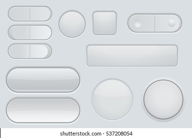 Collection of white plastic interface buttons. Vector illustration.
