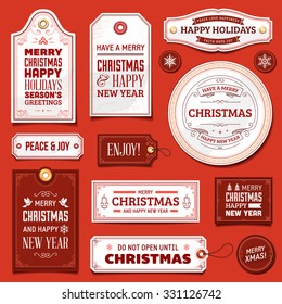 Collection of white and red christmas vector labels and ornaments.
