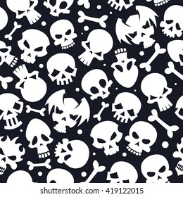 Collection of white vector skulls on dark background seamless pattern
