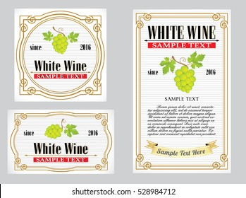 collection of white vintage alcohol wine labels with grapes and leaves illustrations