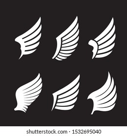 Collection of white Wings. Vector Illustration and outline Icons. Symbol of freedom.