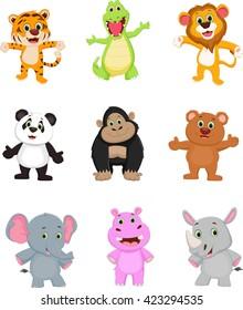 collection of wild animal cartoon