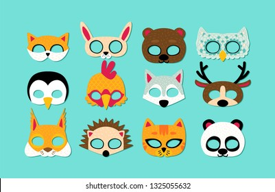 Collection of wild animals photo booth props for kids. Cute cartoon masks for party.