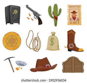 Collection of wild west flat icons. Accessories and objects game or app ui icon. Cowboy hat, sheriff star badge, wanted reward poster, saloon wooden gate