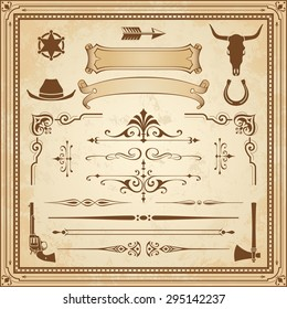 A collection of Wild West ornament, with frames, rulers, angle ornaments and clipart.