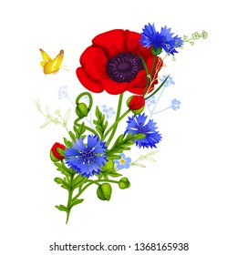 Collection of wildflowers: cornflowers, poppies, forget me nots with flying butterflies. Design elements for greeting cards, invitations, etc. Isolated vector illustration.