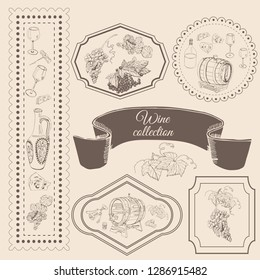 Collection of wine product elements in frame. Hand drawn sketch objects in vitage style. Vector illustration.