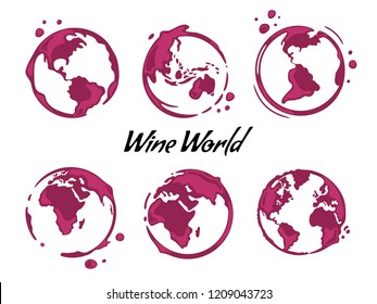 Collection of wine round stains shaped like a world map or globe.All continents: North, South America, Europe, Asia, Africa,Australia.Spilled drops and splashes on white background.Vector illustration