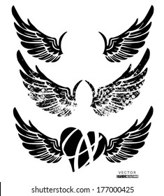 Collection of wings, heart, isolated on white, vector