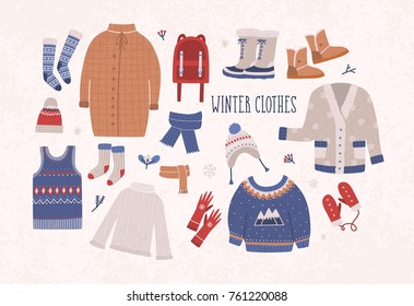 Collection of winter clothes and outerwear isolated on light background - woolen jumper, cardigan, coat, snow boots, scarf, hat, mittens. Bundle of seasonal clothing. Colorful vector illustration.