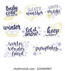 Collection of winter holidays greeting cards with calligraphy hand drawn lettering baby it's cold outside, sweater weather, winter magic, keep warm, let it snow, winter wonderland, snowflakes