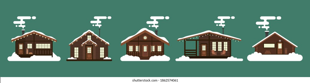 Collection of winter houses. Snow-covered Christmas houses and country cottages, alpine chalet, mountain house. Cartoon style, flat illustration. For websites, wallpapers, posters or banners