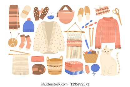 a682d58fd968a2 Collection of winter knitted clothes and knitting tools isolated on white  background - woolen jumper,