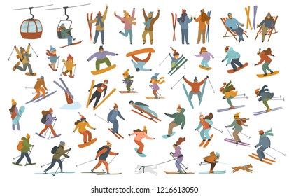 collection of winter people, men women cute children downhill skiing, snowboarding, cross-country skiers, skijoring, jumping, snowshoeing, having party at resort cartoon vector illustration scenes set