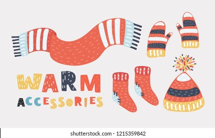 Collection of winter warm clothes. Clothing for cold weather: knitted hat, socks, scarf, gloves. Vector cartoon illustration in modern concept