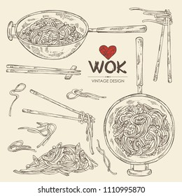 Collection of wok: chinese noodles, wok with noodles and chopsticks with noodles. Vector hand drawn illustration