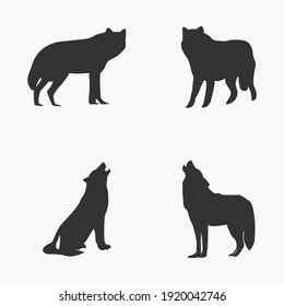 Collection of wolf animal silhouettes vector illustration