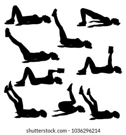 Collection of woman doing sport exercises at home with a book in hands. Black silhouettes of slim woman body in different sport poses. Fitness for the lazy.